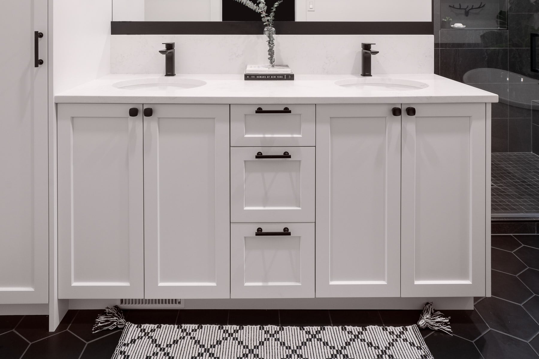 Custom White Bathroom Vanity with Black Accents