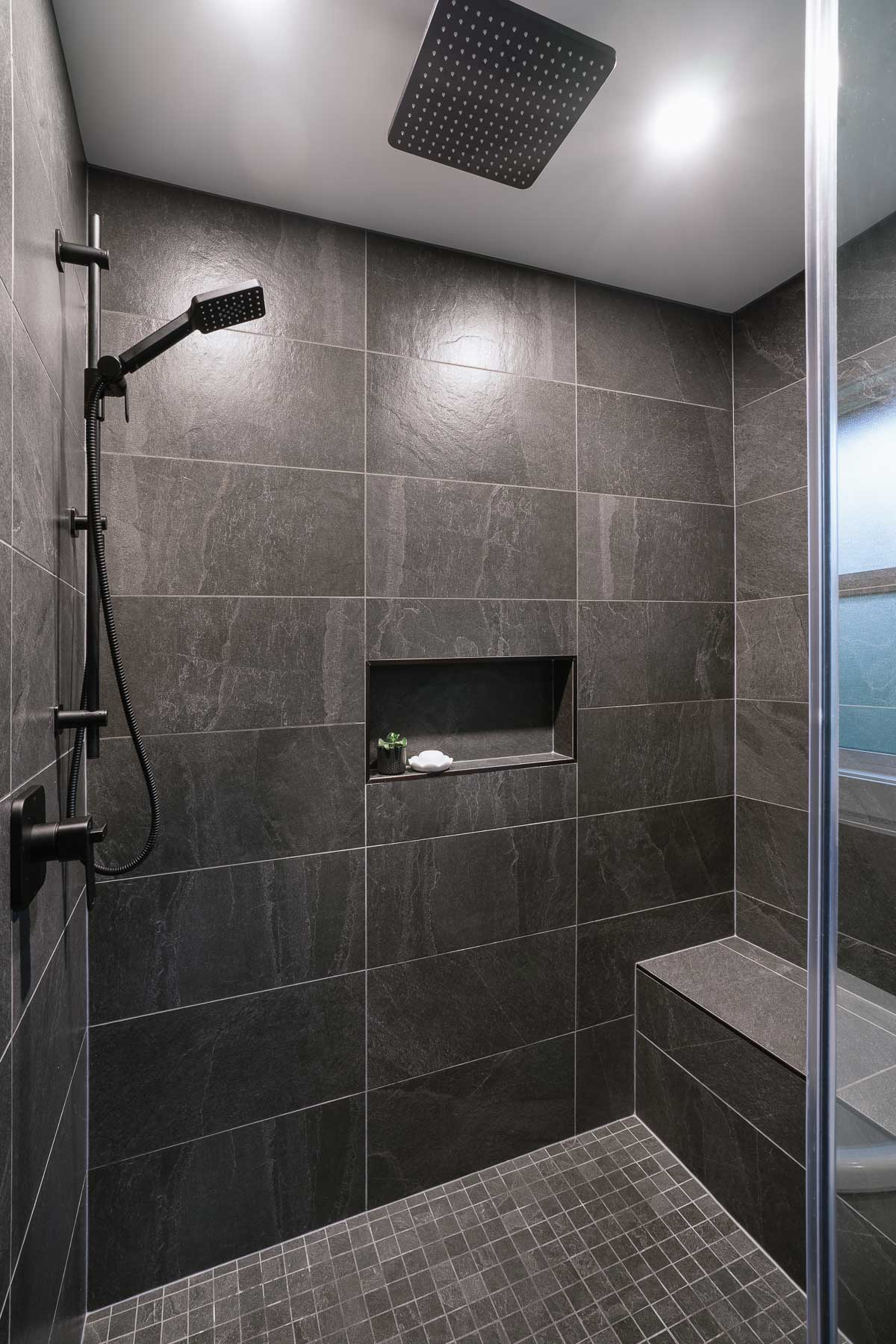 Black Tile Walk-In Shower