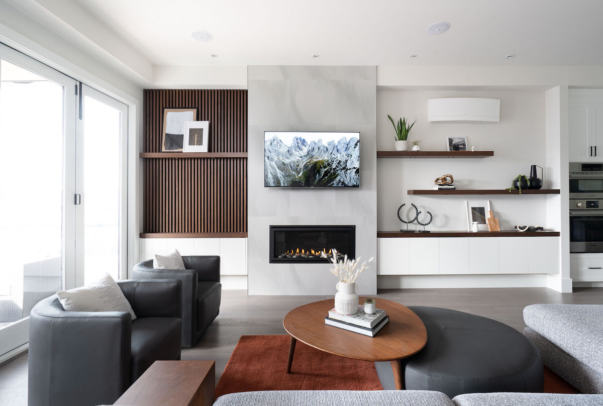Modern fireplace feature wall